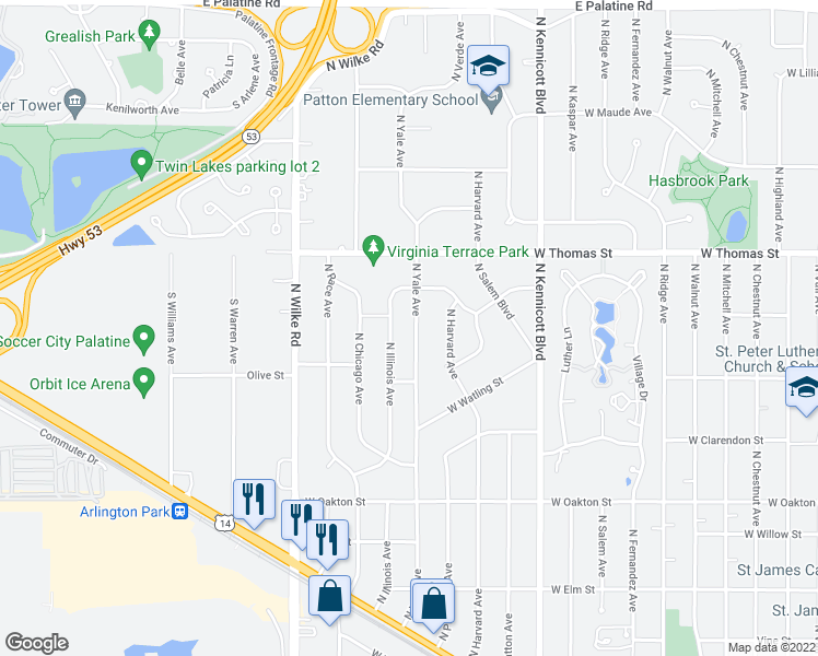 map of restaurants, bars, coffee shops, grocery stores, and more near 1340 North Yale Avenue in Arlington Heights