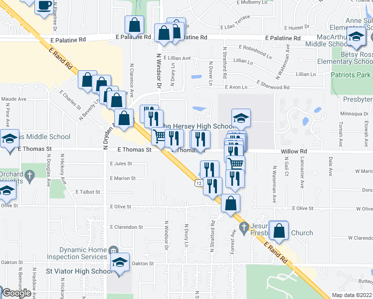 map of restaurants, bars, coffee shops, grocery stores, and more near Thomas Avenue in Arlington Heights