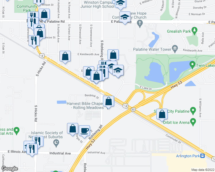 map of restaurants, bars, coffee shops, grocery stores, and more near 800 East Northwest Highway in Palatine