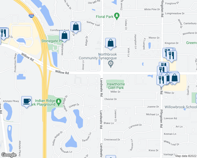 map of restaurants, bars, coffee shops, grocery stores, and more near 2809 Meadowview Court in Glenview