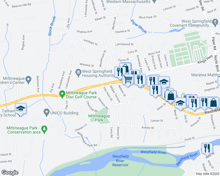 map of restaurants, bars, coffee shops, grocery stores, and more near 14 Wilder Terrace in West Springfield