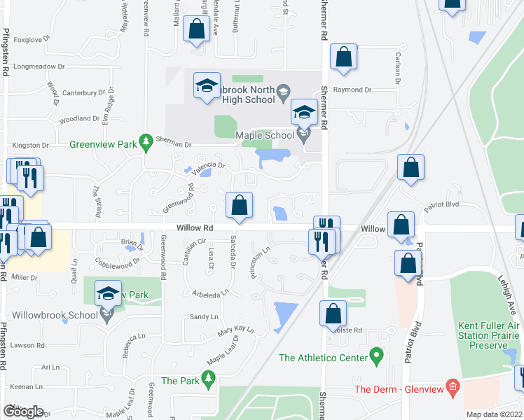 map of restaurants, bars, coffee shops, grocery stores, and more near 3100 Lexington Lane in Glenview