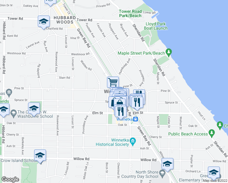 map of restaurants, bars, coffee shops, grocery stores, and more near in Winnetka