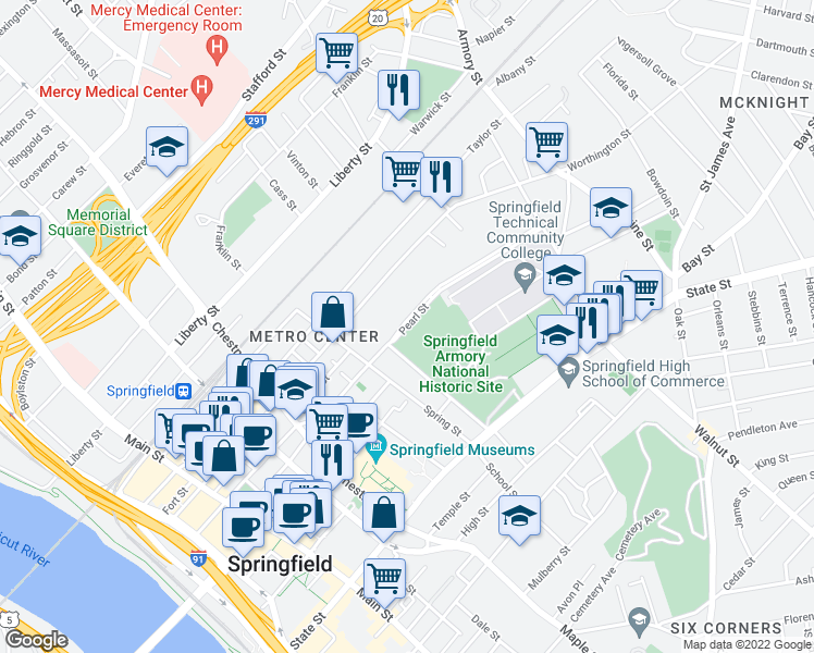 map of restaurants, bars, coffee shops, grocery stores, and more near Pearl Street in Springfield