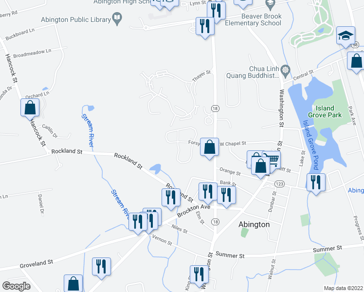 map of restaurants, bars, coffee shops, grocery stores, and more near 7 Forsyth Drive in Abington
