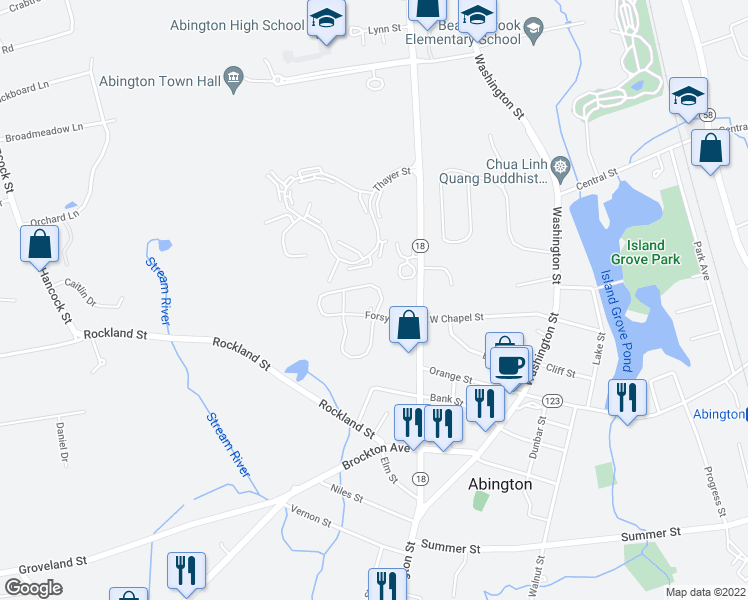 map of restaurants, bars, coffee shops, grocery stores, and more near 2 Forsyth Drive in Abington