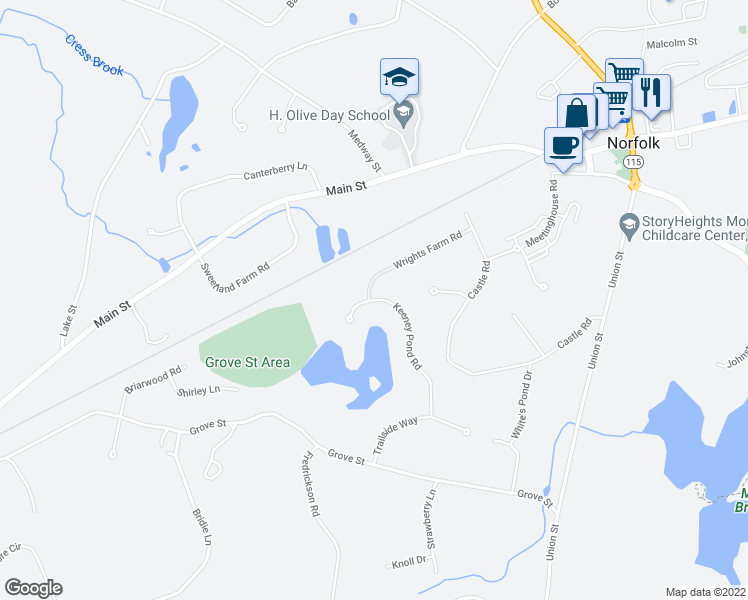map of restaurants, bars, coffee shops, grocery stores, and more near 41 Keeney Pond Road in Norfolk