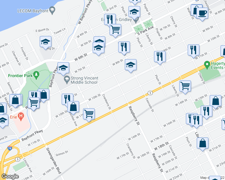 map of restaurants, bars, coffee shops, grocery stores, and more near 1125 West 10th Street in Erie