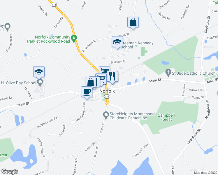 map of restaurants, bars, coffee shops, grocery stores, and more near 2 Rockwood Rd in Norfolk