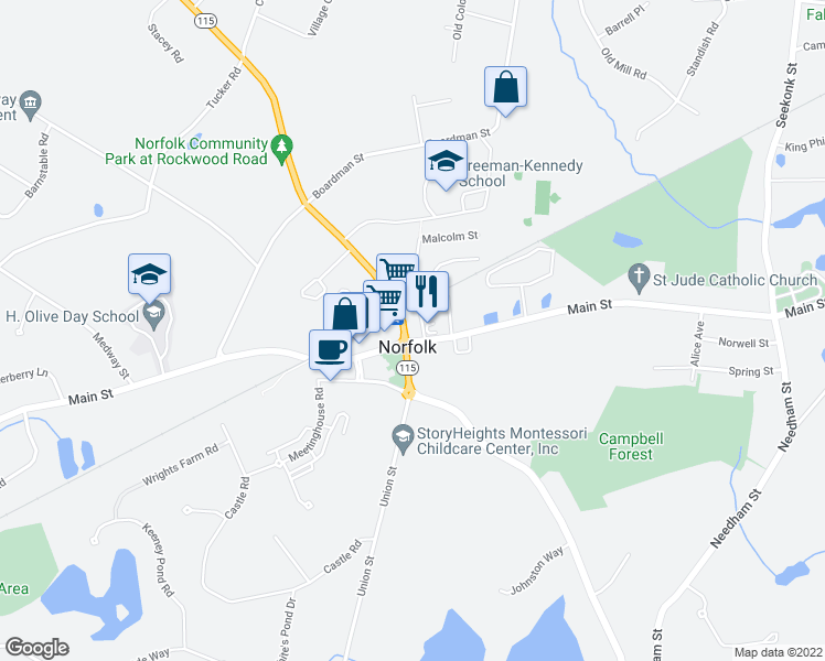 map of restaurants, bars, coffee shops, grocery stores, and more near 2 Rockwood Road in Norfolk