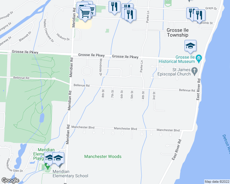 map of restaurants, bars, coffee shops, grocery stores, and more near 25443 7th Street in Grosse Ile Township