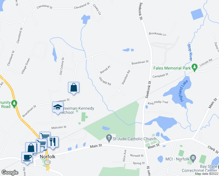 map of restaurants, bars, coffee shops, grocery stores, and more near 14 Old Mill Road in Norfolk