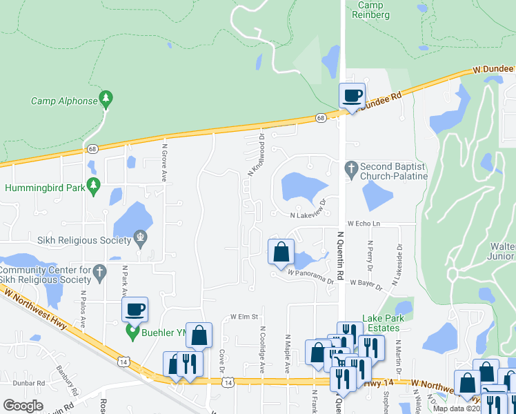 map of restaurants, bars, coffee shops, grocery stores, and more near 1247 North Knollwood Drive in Palatine