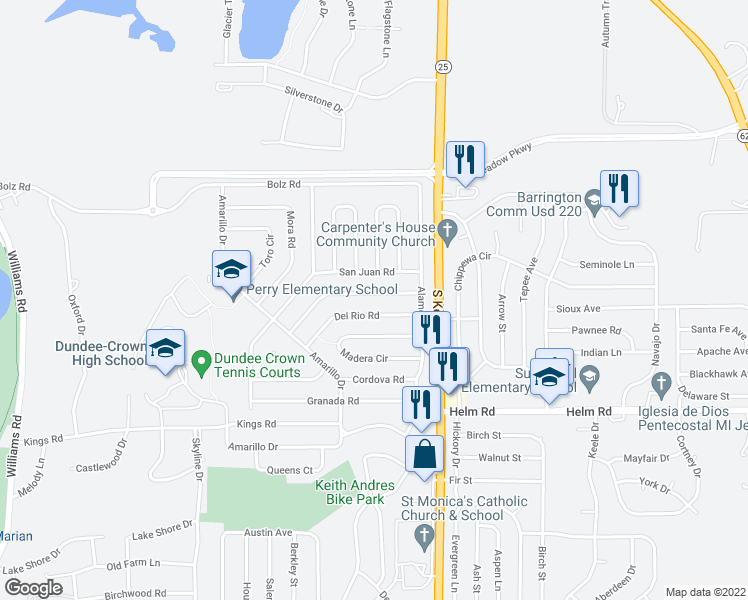 map of restaurants, bars, coffee shops, grocery stores, and more near 115 Pueblo Road in Carpentersville