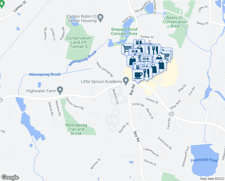 map of restaurants, bars, coffee shops, grocery stores, and more near 8 Bayberry Drive in Sharon