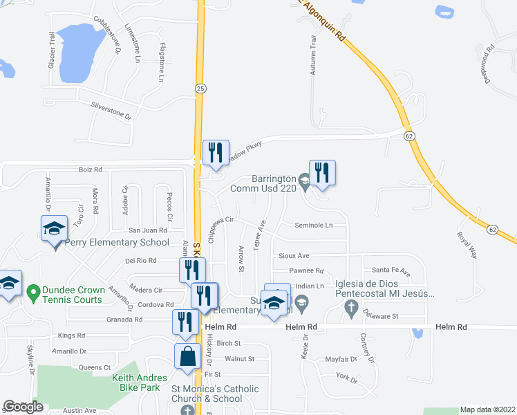 map of restaurants, bars, coffee shops, grocery stores, and more near 2410 Tomahawk Court in Carpentersville