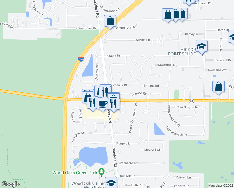 map of restaurants, bars, coffee shops, grocery stores, and more near 4050 Dundee Road in Northbrook