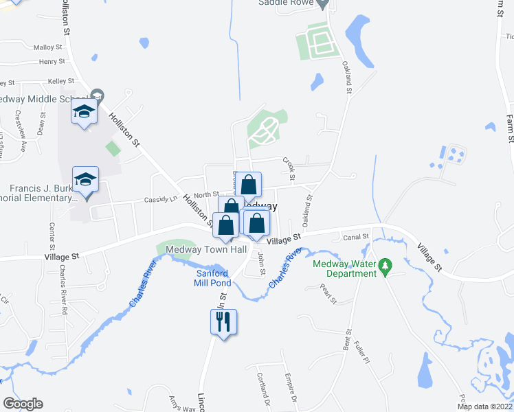 map of restaurants, bars, coffee shops, grocery stores, and more near in Medway