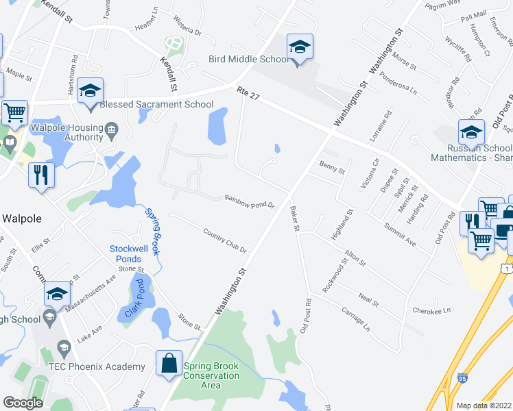 map of restaurants, bars, coffee shops, grocery stores, and more near 7 Rainbow Pond Drive in Walpole