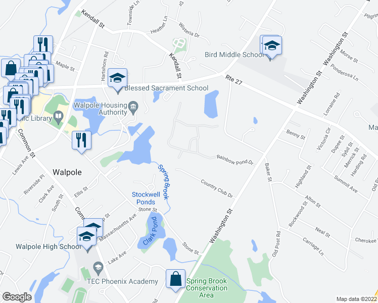 map of restaurants, bars, coffee shops, grocery stores, and more near 23 Rainbow Pond Drive in Walpole