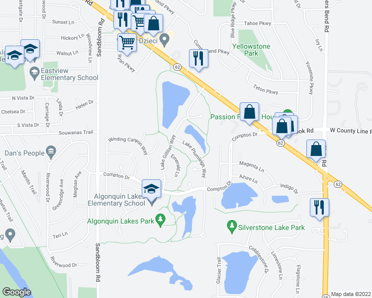 map of restaurants, bars, coffee shops, grocery stores, and more near 340 Lake Plumleigh Way in Algonquin