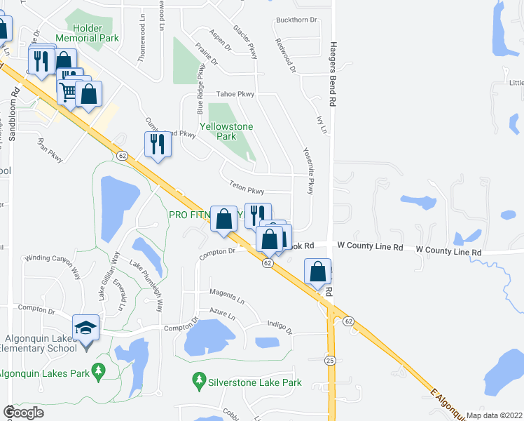 map of restaurants, bars, coffee shops, grocery stores, and more near 2123 Glacier Court in Algonquin