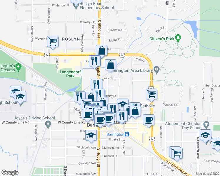 map of restaurants, bars, coffee shops, grocery stores, and more near 423 North Cook Street in Barrington