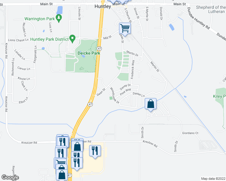map of restaurants, bars, coffee shops, grocery stores, and more near 11701-11799 Davey Dr in Huntley