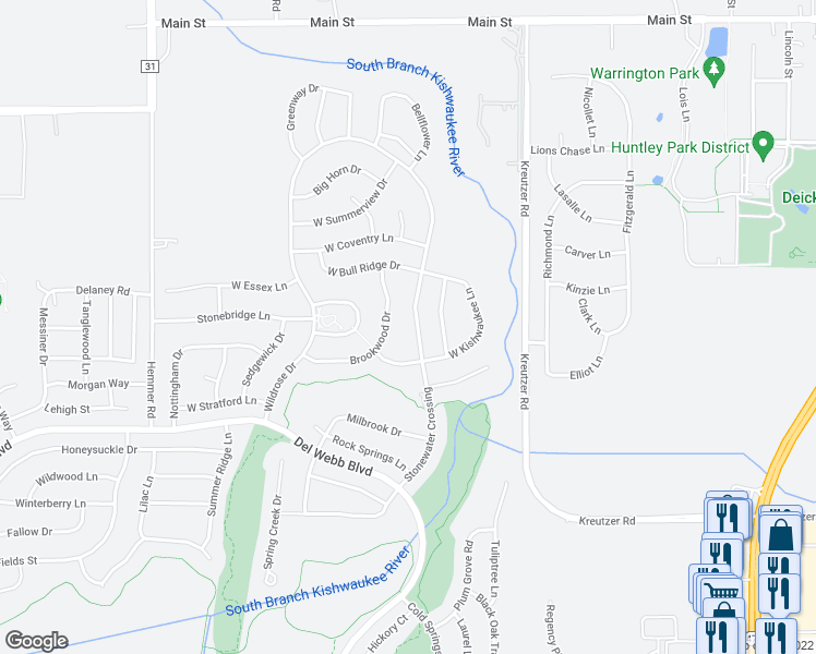 map of restaurants, bars, coffee shops, grocery stores, and more near 11707 Stonewater Crossing in Huntley