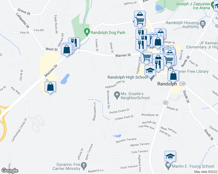 map of restaurants, bars, coffee shops, grocery stores, and more near 33-41 Highland Glen Drive in Randolph