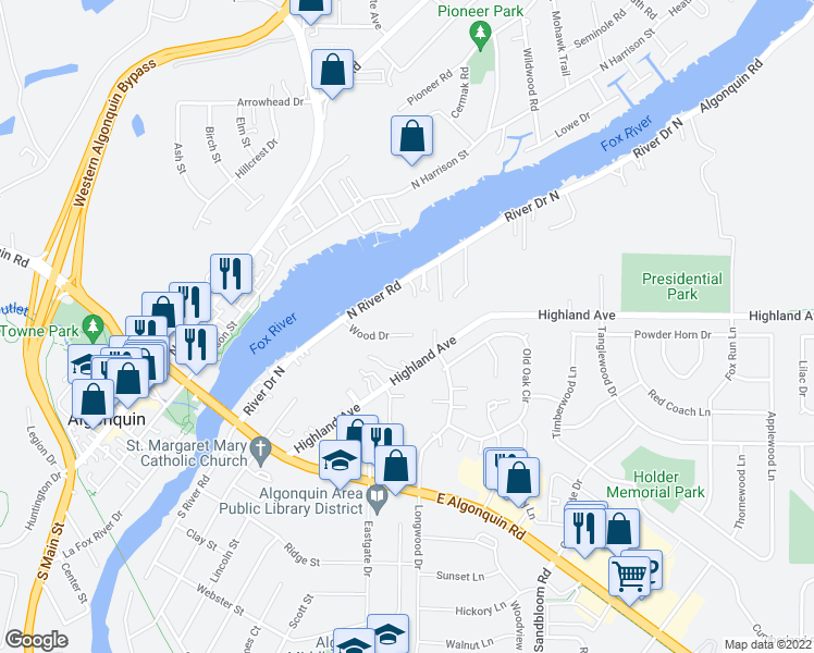 map of restaurants, bars, coffee shops, grocery stores, and more near 110 Wood Drive in Algonquin