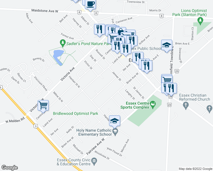 map of restaurants, bars, coffee shops, grocery stores, and more near 111 Iler Avenue in Essex