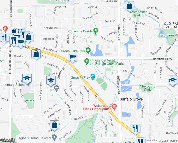 map of restaurants, bars, coffee shops, grocery stores, and more near 301 North Riverwalk Drive in Buffalo Grove