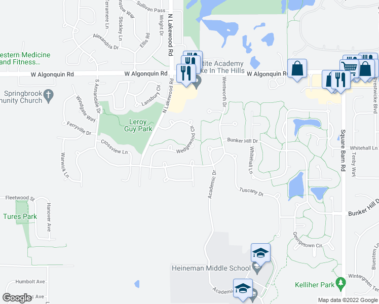 map of restaurants, bars, coffee shops, grocery stores, and more near 620 Wedgewood Circle in Lake in the Hills