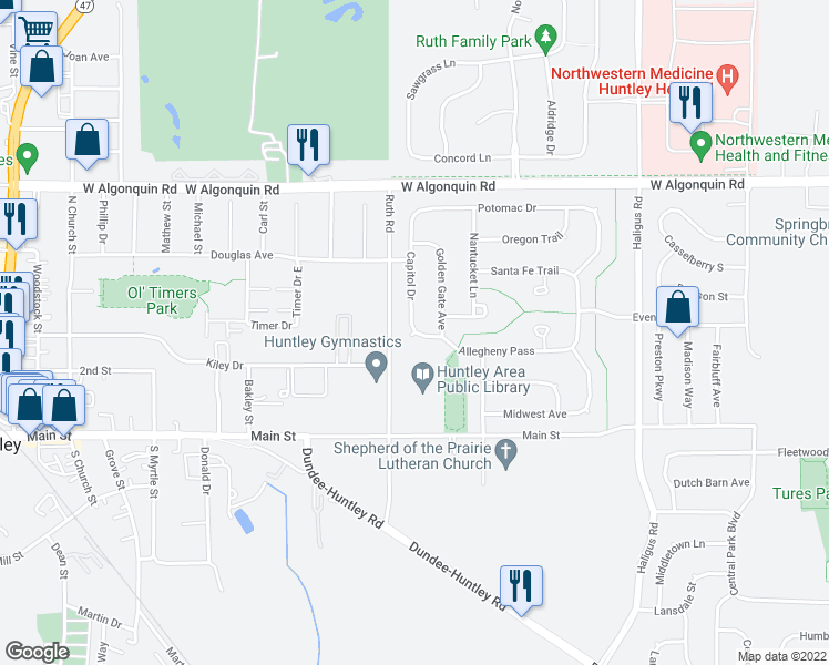 map of restaurants, bars, coffee shops, grocery stores, and more near 10811 Capitol Drive in Huntley