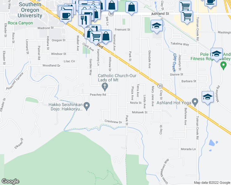 map of restaurants, bars, coffee shops, grocery stores, and more near 1025 Beswick Way in Ashland