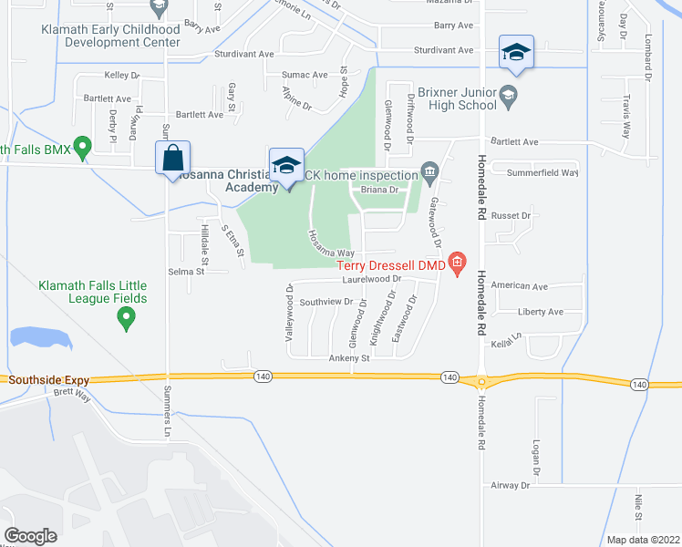 map of restaurants, bars, coffee shops, grocery stores, and more near 5049 Laurelwood Drive in Klamath Falls