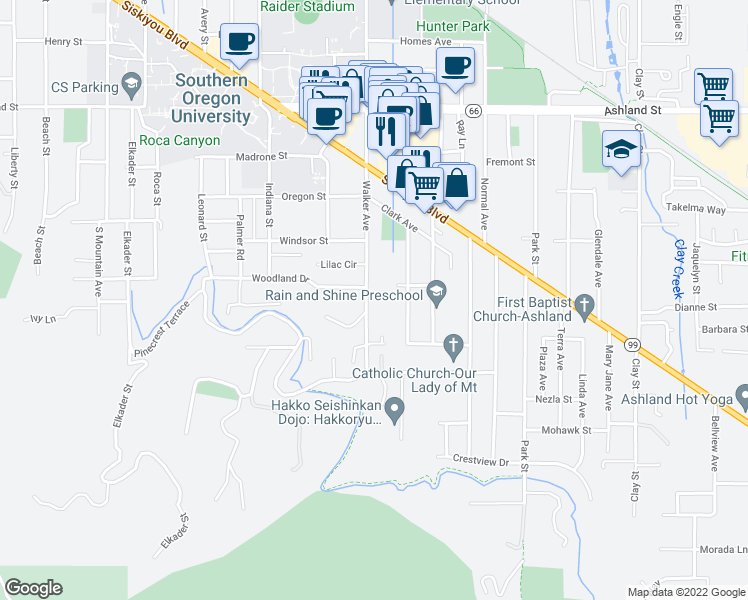 map of restaurants, bars, coffee shops, grocery stores, and more near 944 Walker Avenue in Ashland