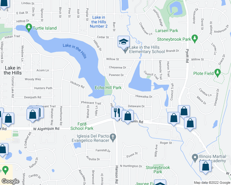 map of restaurants, bars, coffee shops, grocery stores, and more near 30 Hilltop Drive in Lake in the Hills
