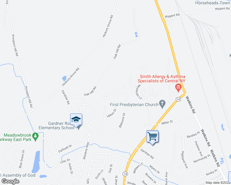map of restaurants, bars, coffee shops, grocery stores, and more near 18 Harvard Road in Horseheads