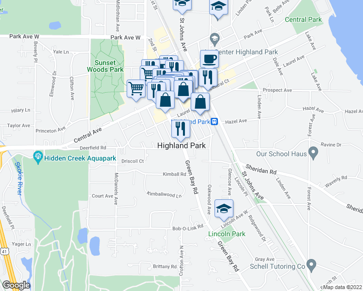 map of restaurants, bars, coffee shops, grocery stores, and more near 0 Park Avenue in Highland Park