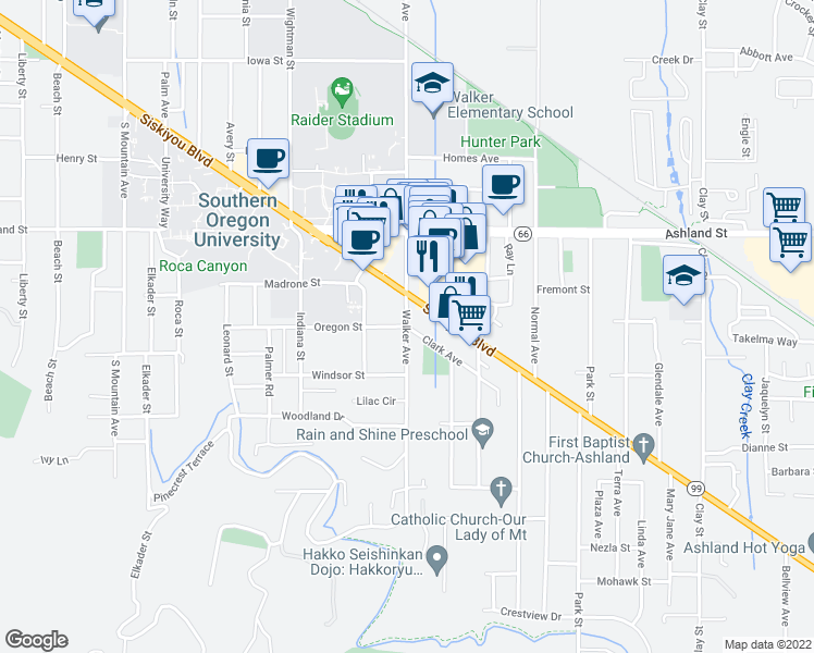 map of restaurants, bars, coffee shops, grocery stores, and more near Walker Ave & Oregon St in Ashland