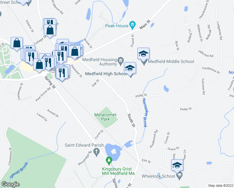 map of restaurants, bars, coffee shops, grocery stores, and more near 2-10 Metacomet Street in Medfield
