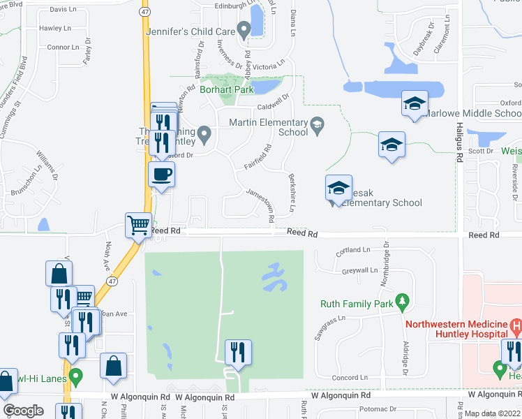 map of restaurants, bars, coffee shops, grocery stores, and more near 11235 Balmoral Drive in Huntley