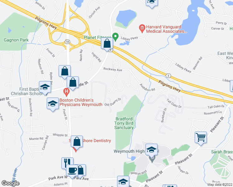 map of restaurants, bars, coffee shops, grocery stores, and more near 80 Donald Street in Weymouth