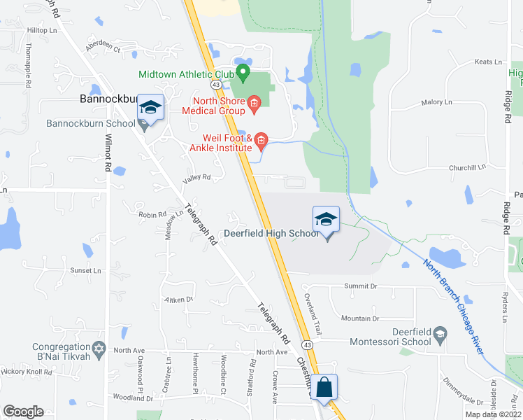 map of restaurants, bars, coffee shops, grocery stores, and more near 1838-1998 Waukegan Rd in Deerfield