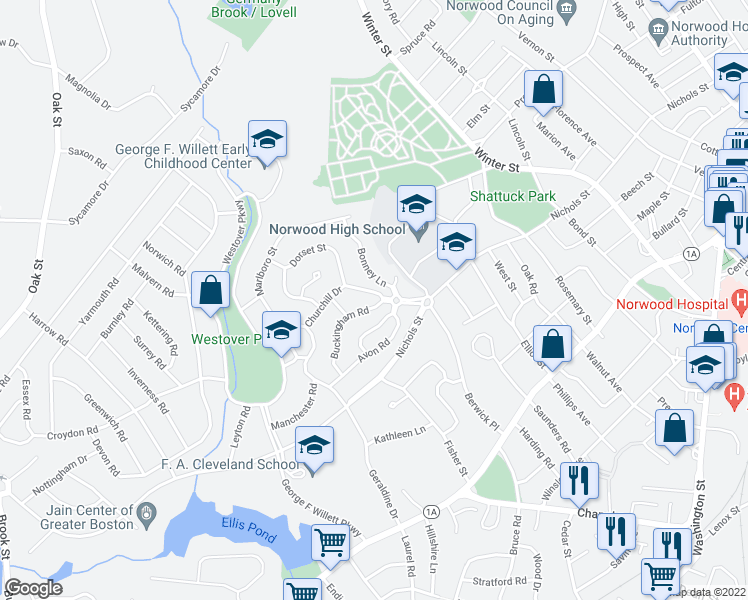 map of restaurants, bars, coffee shops, grocery stores, and more near 15 Victoria Circle in Norwood