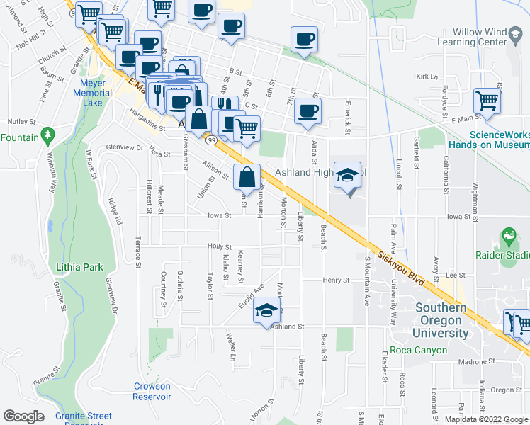 map of restaurants, bars, coffee shops, grocery stores, and more near 220 Harrison Street in Ashland