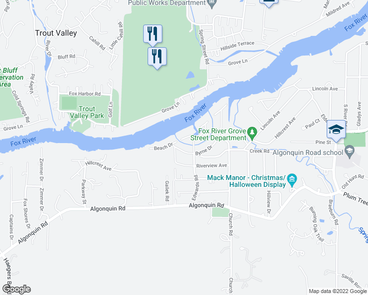 map of restaurants, bars, coffee shops, grocery stores, and more near 2310 Byrne Drive in Fox River Grove