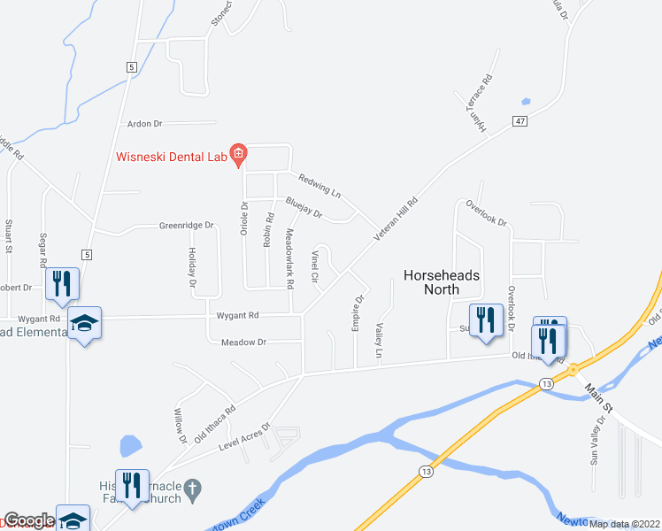 map of restaurants, bars, coffee shops, grocery stores, and more near in Horseheads North
